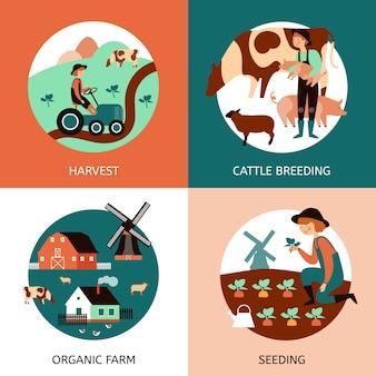Set di immagini vettoriali di fattoria biologica. animali e personaggi