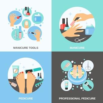 Set di immagini vettoriali di manicure pedicure