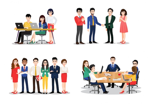 Set di impiegato. gruppo di uomini e donne che prendono parte a riunioni di lavoro, trattative, brainstorming, dialogano. illustrazione colorata in stile cartone animato piatto