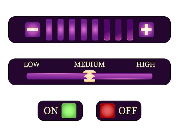 Set di impostazioni di controllo e pulsante per gli elementi dell'interfaccia utente del gioco