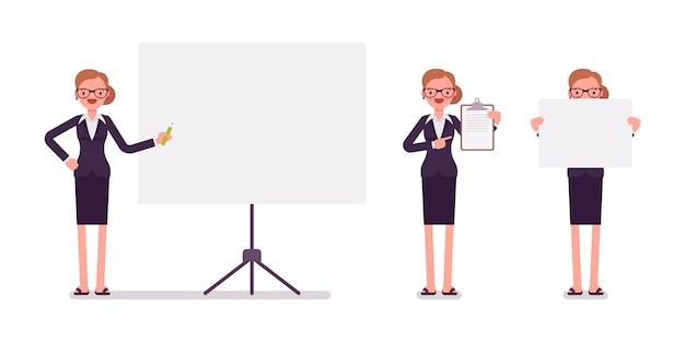 Set di imprenditrice in abbigliamento formale con cornici per copyspace