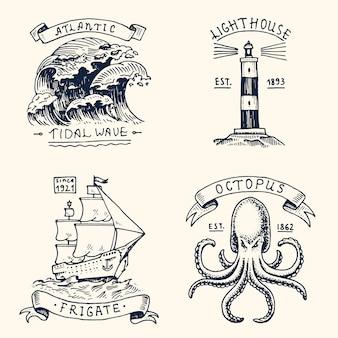 Set di incisi vintage, disegnati a mano, vecchi, etichette o badge per maremoto atlantico, faro e polpo