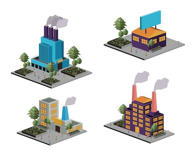 Set di industria isometrica