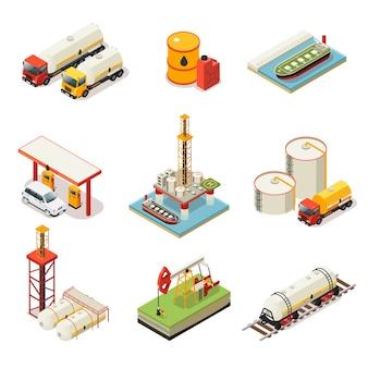 Set di industria petrolifera isometrica