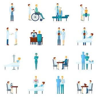 Set di infermieri e dottori