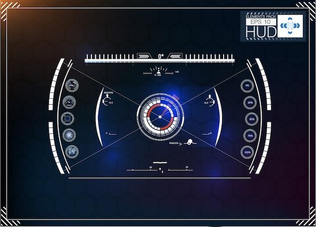 Set di infografiche blu futuristiche come display head-up. visualizza gli elementi di navigazione per il web e l'app.