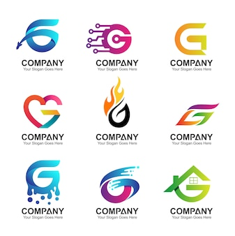 Set di iniziali lettera g design del logo