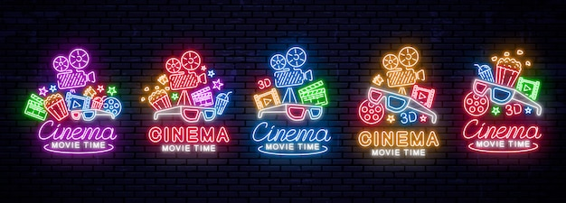 Set di insegne al neon luminose per il cinema. illustrazione