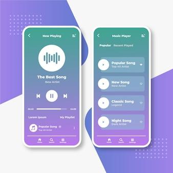 Set di interfacce dell'app per lettore musicale