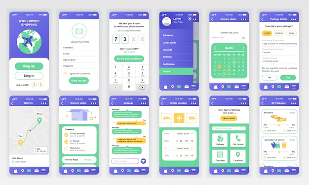 Set di interfacce ui, ux, gui app di consegna piatta