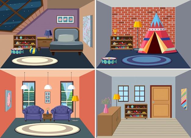 Set di interni della camera di casa