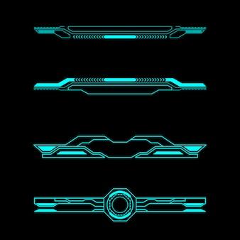 Set di intestazione elementi futuristici pannello di controllo dell'interfaccia