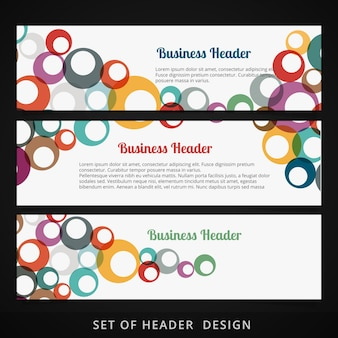Set di intestazioni con cerchi colorati che fluiscono all'interno del disegno vettoriale