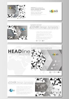 Set di intestazioni di social media e email, banner moderni. modello di copertina