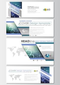 Set di intestazioni di social media e email, modelli di banner, modello di copertina. molecola di dna