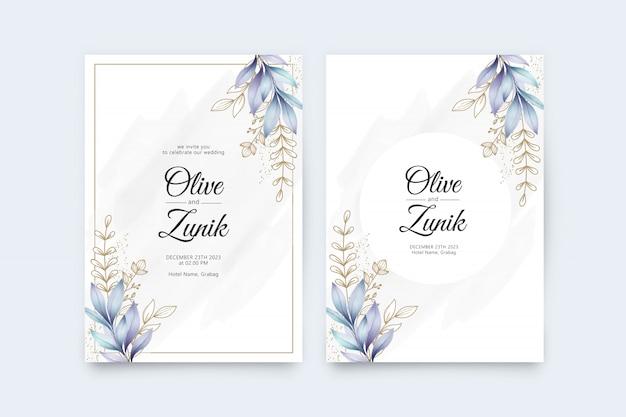 Set di invito a nozze con decorazione di foglie d'oro e dell'acquerello