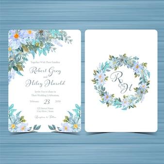 Set di invito a nozze floreale con monogramma