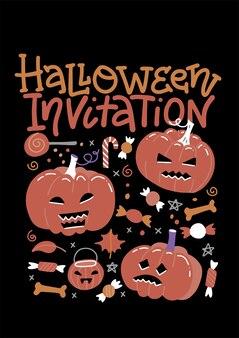 Set di invito a una festa di halloween con zucche, caramelle e testo di lettere.