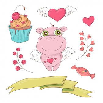 Set di ippopotamo simpatico cartone animato per san valentino