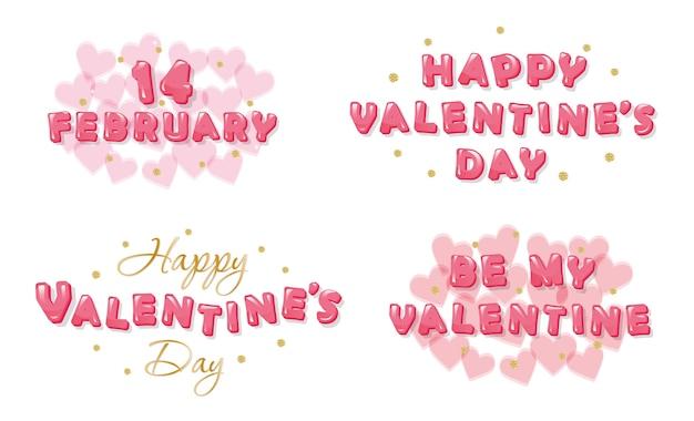 Set di iscrizioni di san valentino.