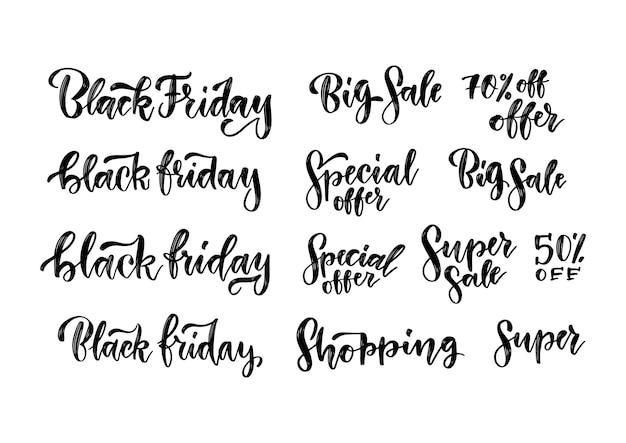 Set di iscrizioni scritte a pennello di vendite del black friday. etichette tipografiche fatte a mano per la pubblicità. illustrazione d'epoca per banner pubblicitari.