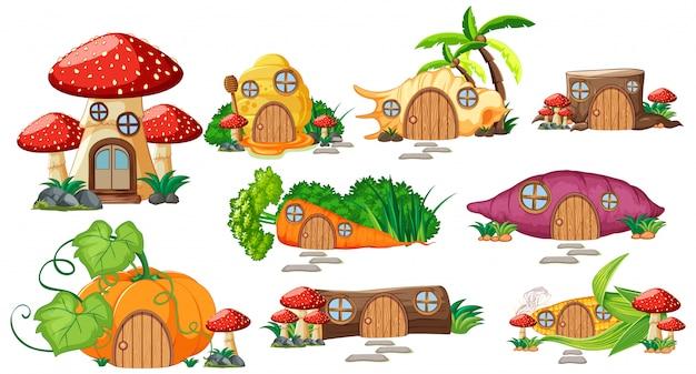 Set di isolato fiaba case in stile cartone animato su sfondo bianco