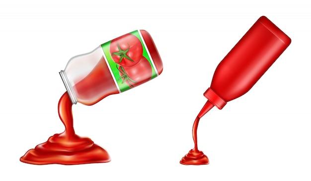 Set di ketchup - in bottiglia di plastica e vaso di vetro in stile 3d. condimento di pomodoro rosso