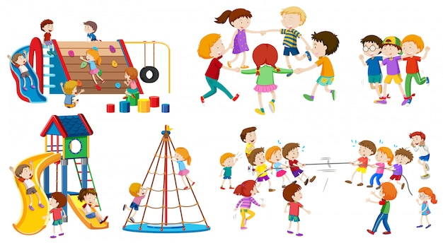 Set di kid isolato al parco giochi