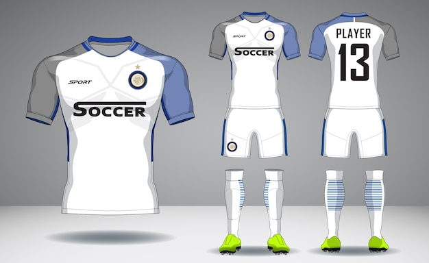 Set di kit calcio, design sportivo t-shirt.