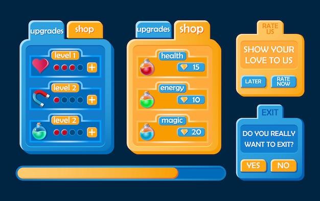 Set di kit di gioco casual per l'interfaccia utente