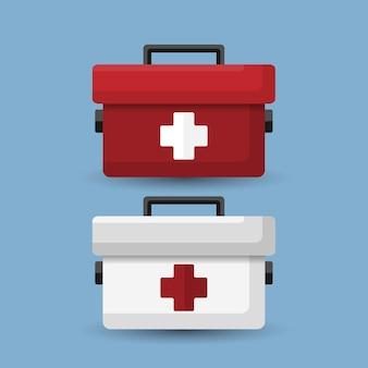 Set di kit di pronto soccorso bianco e rosso isolato