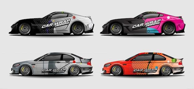 Set di kit grafici per veicoli. priorità bassa astratta moderna per livrea dell'involucro dell'automobile e della decalcomania dell'autoadesivo dell'automobile