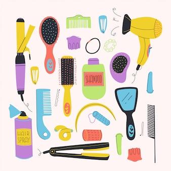 Set di kit per acconciature. pettini, asciugacapelli, set di kit per acconciature. pettini, asciugacapelli, accessori, piastra per capelli, ecc. illustrazione piatta.