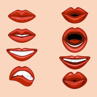 Set di labbra femminili che esprimono emozioni diverse in uno stile comico.