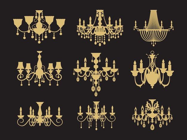 Set di lampadari vintage isolato