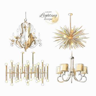 Set di lampadario di illuminazione