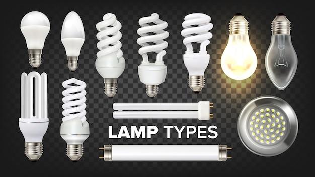 Set di lampade a led, fluorescenti e incandescenti