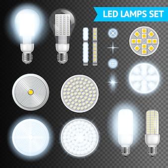 Set di lampade a led trasparenti