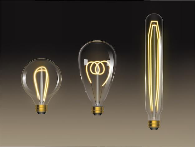 Set di lampadine a filamento. retro lampade edison isolate