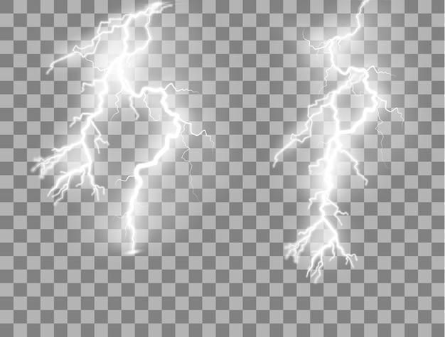 Set di lampi effetti di luce magici e luminosi.