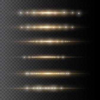 Set di lampi luminosi, sole splendente, esplode la luce gialla