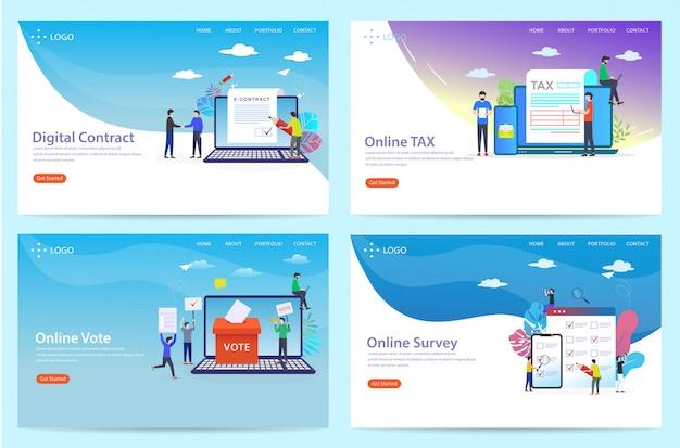Set di landing page con il tema dell'accordo, illustrazione