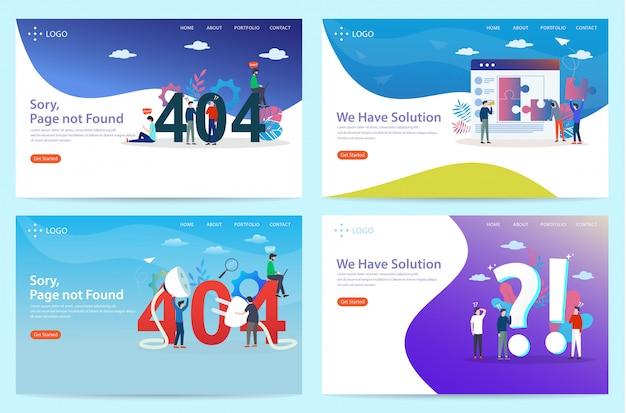 Set di landing page con il tema della connessione persa, illustrazione