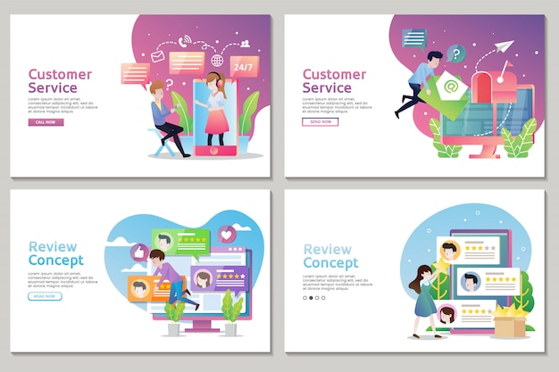 Set di landing page del servizio clienti e concetto di recensione