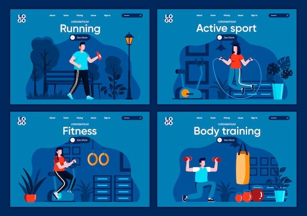 Set di landing page piatte per sport attivi. allenamento di forza e cardio in palestra, jogging e sollevamento di scene con manubri per sito web o pagina web cms. allenamento del corpo, fitness e illustrazione in esecuzione.