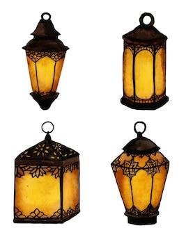 Set di lanterne dell'acquerello, luci di celebrazione del ramadan.