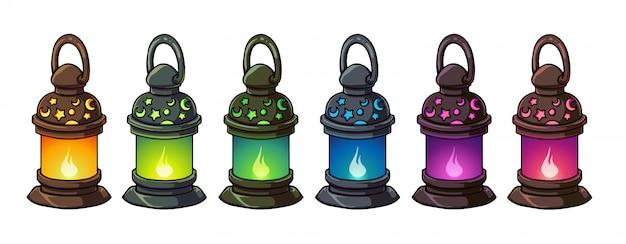 Set di lanterne fantasy per giochi per cellulari. colori dorati, verdi, blu, rosa e viola. illustrazione vettoriale. oggetti isolati.