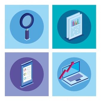 Set di laptop con icone di affari