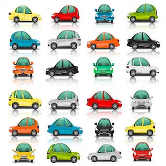 Set di lato auto e vista frontale