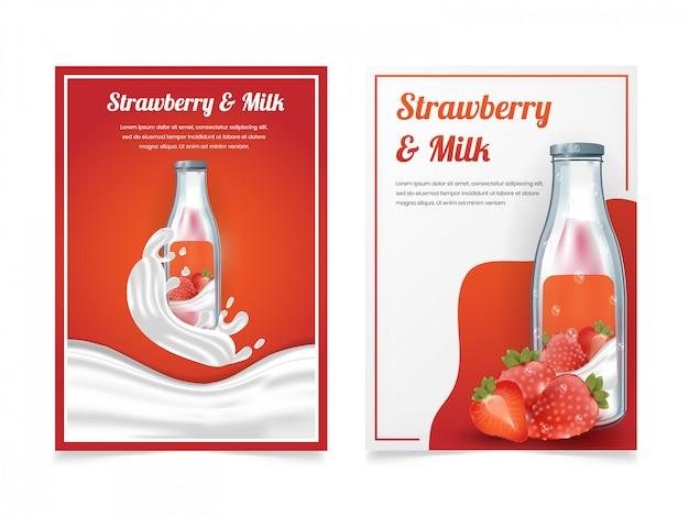 Set di latte alla fragola in una bottiglia modello di progettazione volantino